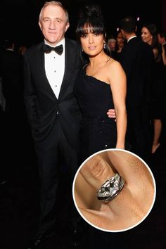 The Top 25 Celebrity Engagement Rings: Salma Hayek and François-Henri Pinault's oval-cut three-stone ring