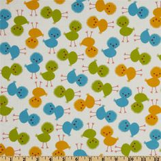 Urban Zoologie Baby Chicks Bermuda from @fabricdotcom  Designed by Ann Kelle for Robert Kaufman, this cotton print fabric is perfect for quilting, apparel and home décor accents. Colors include golden yellow, lime and blue on an ivory background.