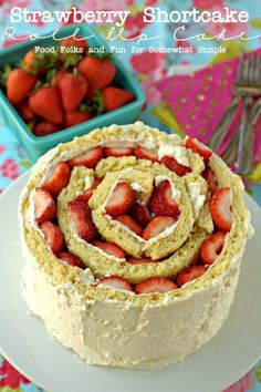 Strawberry Shortcake Roll Up Cake: a new take on a summer classic. #strawberrydessert