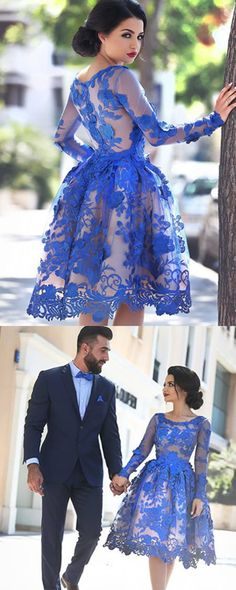 Appliques Scoop Knee-Length Prom Press,Long Sleeve Prom Dresses,A-Line Tulle…