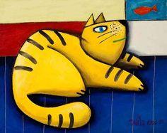 Gato amarelo olhando peixe vermelho  - Gustavo Rosa