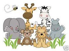 Jungle Animals Wall Art Mural Decal Baby Girl Boy Nursery Kids ...