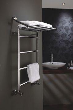 Towel rail with inbuilt shelf
