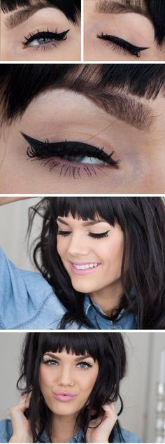 Natural matte nude eyeshadow makeup look with winged cat eye liner and light cool pink lip, inspired by Katy Perry and Zooey Deschanel, look and tutorial created by gorgeous makeup artist Linda Hallberg. Great shadow and lipstick look for casual everyday in spring and summer.