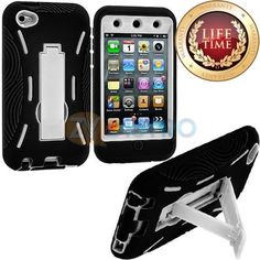 Amazon.com: myLife (TM) Black + White Tough Series (Body Armor Defender Glove) Case for iPod 4/4S (4G) 4th Generation iTouch (Built In Kicks...