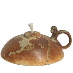 Ceramic Oil Lamp with Wick