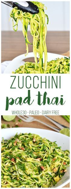 This Zucchini Pad Thai is a perfect Whole30 meal! No added sugar, grain-free and full of flavor! Also vegan / vegetarian!