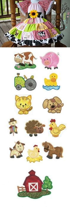 Barnyard Buddies Applique is available for Instant Download at designsbyjuju.com