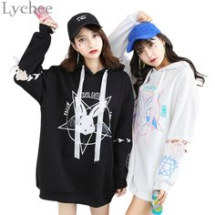 Cheap women sweatshirt, Buy Quality sweatshirt rabbit directly from China style hoodie Suppliers: Lychee Harajuku Lolita Style Women Sweatshirt Rabbit Pentacle Print Lace Up Hoodies Casual Loose Long Sleeve Tracksuit