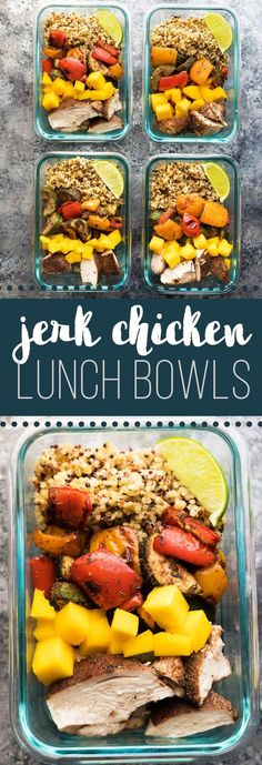 Jerk Chicken Meal Prep Lunch Bowls- bring sweet and spicy flavors to your lunch!