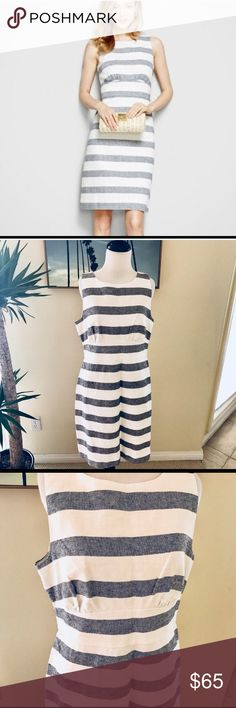 """HP🎉 J.Crew// Striped Basketweave Sheath Dress NWT gorgeous J.Crew Sheath Dress in navy and white stripe. Size 12. This is a re-posh for me that just breaks my heart, but doesn't quite fit. Back zip. Lined. Length: 37"""". Bust: 38"""". Waist: 33.5"""". Hips: 40"""". J. Crew Dresses"""