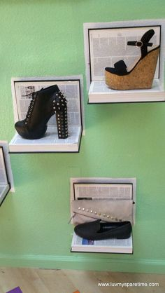 Seriously cool shoe display from old books!