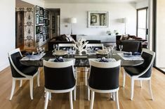 Dining Room, Casual Black And White Dining Room Set With Glass Top Dining Table And Black Leather Upholstered Dining Chairs: What Are The Powerful Features Of Black Dining Room Sets? White Living Room Set, Black And White Dining Room, Black And White Chair, Black Dining Room Chairs, Living Room Sets, Dining Room Table, White Chairs, Black White, Tuscan Dining Rooms