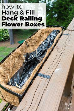 Flower Boxes Deck, Railing Flower Boxes, Window Box Flowers, Flower Planters, Window Boxes, Metal Deck Railing, Deck Railing Planters, Diy Planter Box, Planter Ideas