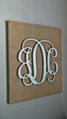 three letter vine monogram on burlap canvas