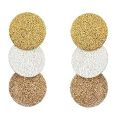 Pre-owned Sparkly Mixed Metal Disk Drop Earrings (48 AUD) ❤ liked on Polyvore featuring jewelry, earrings, multi, earring jewelry, sparkle jewelry, mixed metal jewellery, sparkly drop earrings and sparkling jewellery