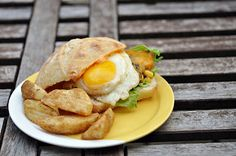 Black Bean Chicken Burger with Sunny Side Up Egg