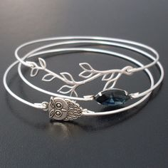 Midnight Owl Bangle Bracelet Set, Silver, Blue, Unique Jewelry, Owl Jewelry, Woodland Owl, Unique Bracelet Stack, Nature Jewelry, Bangle Set. $39.00, via Etsy.