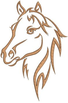 a horse& head Machine Embroidery Design by embroiderypapatedy - Pattern - Horse Head Drawing, Horse Drawings, Animal Drawings, Art Drawings, Horse Stencil, Stencil Art, Stencils, Wood Burning Patterns, Wood Burning Art
