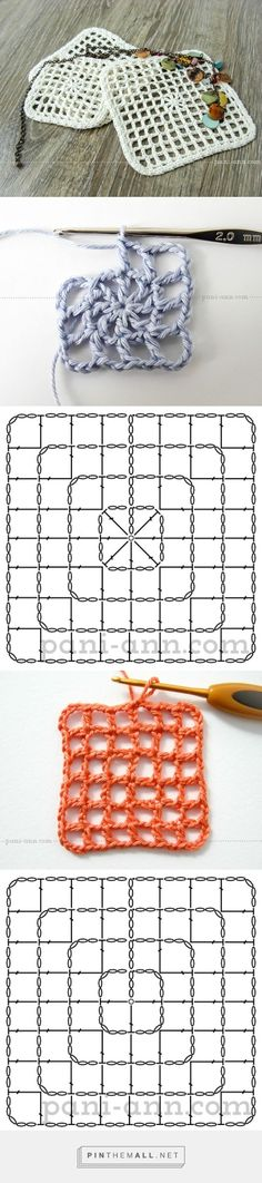 Kissenbezug häkeln Rückseite - big granny crochet - filet crochet in the round to create square - picture tutorial on site by magdalena Filet Crochet, Crochet Patterns Filet, Crochet Diagram, Crochet Chart, Crochet Motif, Crochet Doilies, Crochet Granny, Mode Crochet, Crochet Diy