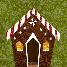 Gingerbread house paper pieced quilt block pattern by BubbleStitch, $2.90