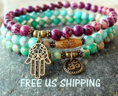 Yoga set of 3 Impression Jasper mala bracelets by LifeForceEnergy, $34.00