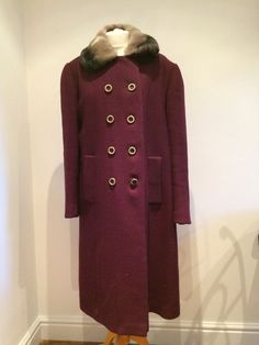 Vintage  1940s 50s Ladies Mansona Plum Purple Coat Faux Fur Collar 18 20