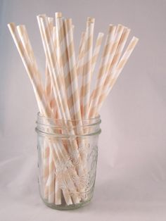 50 Cream Beige Elegant Stripe Straws - ships less than 24 hours via Etsy  The only part of my wedding I already have planned: I will have striped straws.