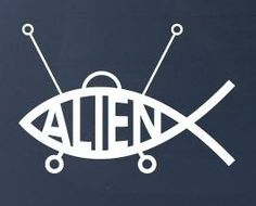 ALIEN FISH  Car Truck Notebook Vinyl Decal Sticker 1224  Vinyl Color White >>> To view further for this item, visit the image link.