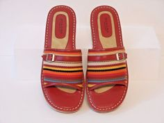 Sonoma Life + Style Red Multi Color  Wedge Slides Sandals Shoes Size 9 M #SonomaLifeStyle #PlatformsWedges