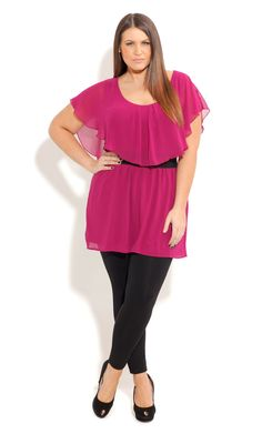 City Chic CAPLET FRILL TUNIC - Women's Plus Size Fashion
