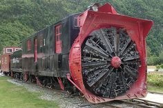 Rotary Snow Plough Train - not the classic cow-catcher style, this plough more resembles the head of a Tunnel Boring machine. (Skagway, Alaska)