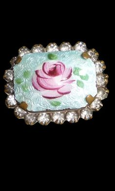 Vintage Porcelain rose brooch pin with rhinestones