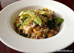 Receta de Ensalada de arroz integral con atún  #Ensaladas #RecetasdeCocina #RecetasFáciles #ComidaSana #EnsaladadeArroz #Atún