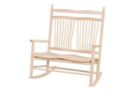 Amish Ash Wood Outdoor Fanback Bench Rocker Delightful on porch, patio or lanai. Enjoy rocking and relaxing on this beauty. Made with light colored, lightweight, durable ash wood.