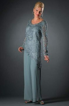 Mother Of The Bride Trouser Suits, Mother Of Bride Outfits, Mother Of Groom Dresses, Long Mothers Dress, Mothers Dresses, Long Sleeve Evening Gowns, Lace Evening Gowns, Mob Dresses, Tea Length Dresses