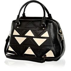 Black triangle applique metal plate holdall - shopper / tote bags - bags / purses - women