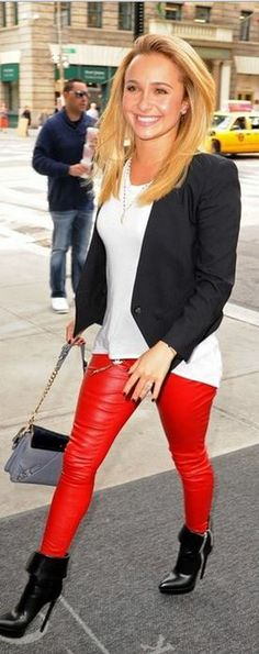 Hayden Panettiere: Jacket – Helmut Lang  Pants – Mugler  Purse – Rebecca Minkoff  Shoes – Saint Laurent