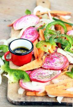 Légumes rôtis au four, sauce balsamique