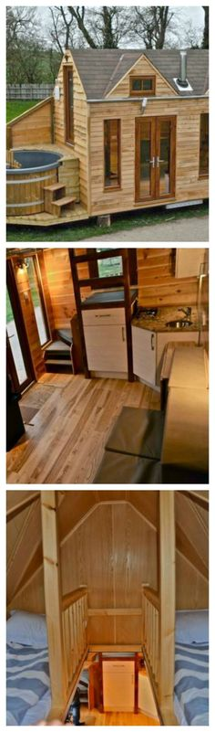 This tiny cabin home has a deck and a hot tub, it sure proves that tiny living can also be luxurious.