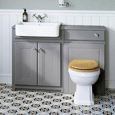 Toilet Vanity Unit, Toilet And Sink Unit, Grey Vanity Unit, Sink Vanity Unit, Toilet Sink, Sink Units, Toilet Room, Traditional Vanity Units, Traditional Toilets