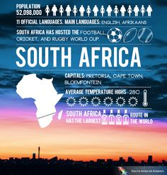 South Africa has an interesting past; it was ruled by Apartheid until Nelson Mandela became the first democratically elected leader Beautiful Places To Visit, Oh The Places You'll Go, Wine Infographic, Infographics, South Africa Facts, The Journey Book, Rugby World Cup, Thinking Day, Road Trip Hacks