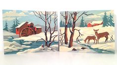 vintage paint by number panel  winter woodland deer in snow by forrestinavintage on Etsy, $16.00