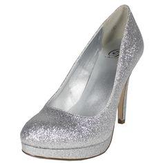 a2172be68ea Eiffel-H Glitter Evening Stiletto Pumps Silver Wedding Shoes