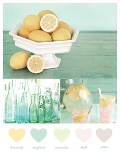 lemonade + seaglass color palette like the yellow for walls