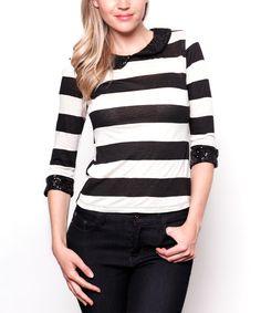 Look at this #zulilyfind! Black & Ivory Stripe Sequin-Peter Pan Collar Tee by Buy in America #zulilyfinds