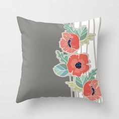 Coral Poppy with Mint and Grey POPULAR FABRIC Throw Pillow Cover Case 16X16 or 18x18 Or 20x20 Hidden Zipper