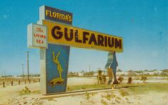 """Very awesome sign for the Florida """"Gulfarium,"""" The Living Sea located on U. 98 between Fort Walton Beach and Destin, Fla. Florida City, Visit Florida, Destin Florida, Old Florida, Vintage Florida, Destin Beach, Florida Vacation, Florida Travel, Florida Beaches"""