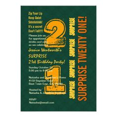 SURPRISE 21st Modern Birthday Green and Gold W539 Personalized Invites
