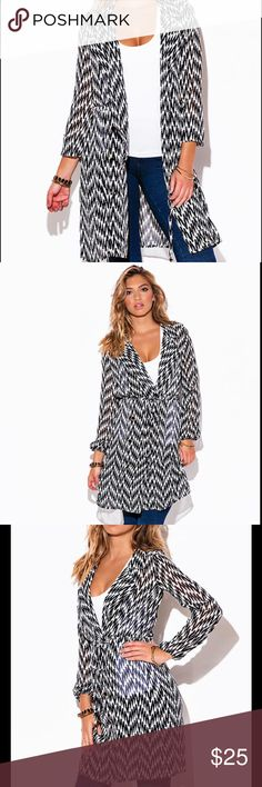 ◼️▫️ZEBRA PRINT CHIFFON BLOUSON SLEEVE TRENCH ▪️◻️ It's a Sophisticated Double Breasted Coat and a Feminine Dress At The Same Time.  unlined. 100% Polyester Made in USA Model is Wearing a size Small Jackets & Coats Trench Coats